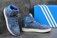 Женские замшевые кроссовки Adidas Tubular Invader синие - 150-1593