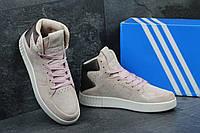 Женские замшевые кроссовки Adidas Tubular Invader светло-розовые - 150-1594