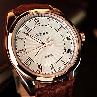 Часы мужские Yazole наручные кварцевые с коричневым кожаным ремешком и белым циферблатом