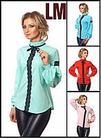 Красивая женская блузка 99395 42,44,46,48,50,52 размеры нарядная красная осенняя весенняя белая голубая в офис