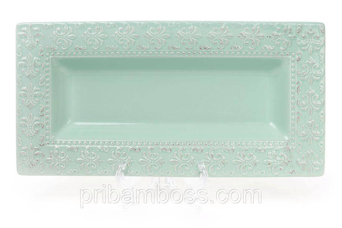 Керамічне Блюдо прямокутне Королівська лілія 35.6 см, колір - світло-зелений