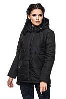 Черная стильная женская синтепонова куртка-парка с капюшоном.  Арт-2351/61