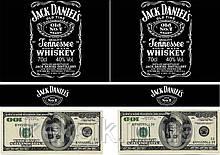 Вафельная картинка Виски Jack Daniel's и деньги