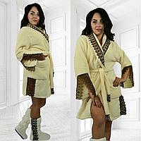 Набор махровый халат с кружевами + махровые сапожки