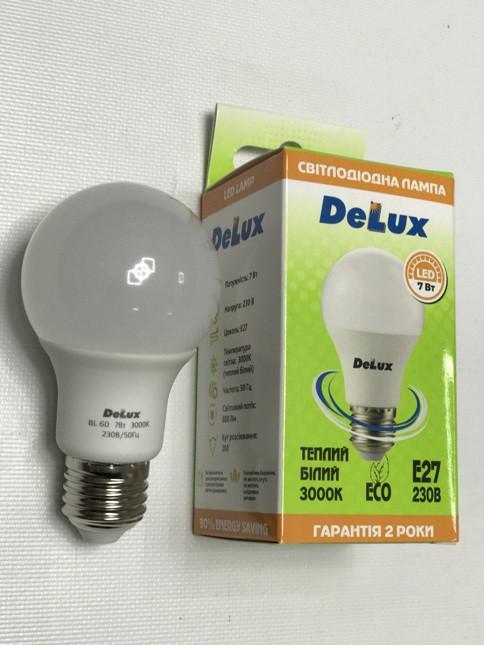 Светодиодная лампа Delux BL60 7W A60 3000K E27 Код.59003