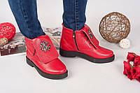 Демисезонные ботинки Rob_c@va!i натуральная кожа, внутри байка. Цвет красный