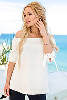Женская блуза ниспадающая на плечи (молочный) Love KAN