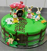 Торт с зайками для ребенка на день рождения в Днепре