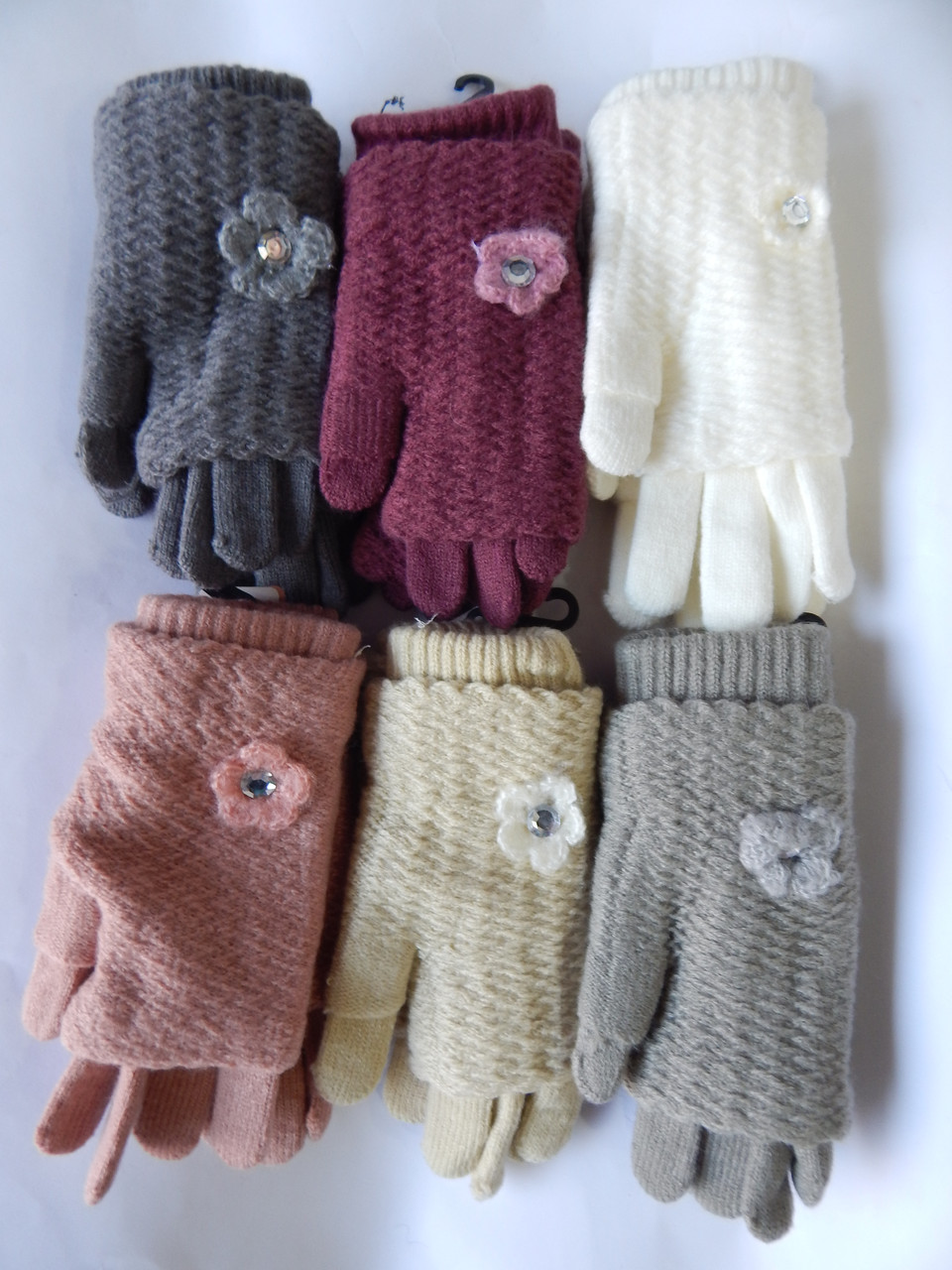 """Перчатки женские Шерсть/Вязка (Митенки) от """"Корона"""" Оптом 12 пар разные цвета"""