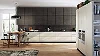 Комбинированная черно-белая кухня с механизмом push-to-open, фото 1