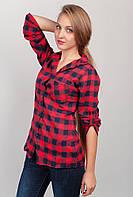 Рубашка женская с длинным рукавом, теплая AG-0002695 Красно-черный