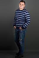 Мужской свитер больших размеров Паук, цвет синий / размерный ряд 48,50,52