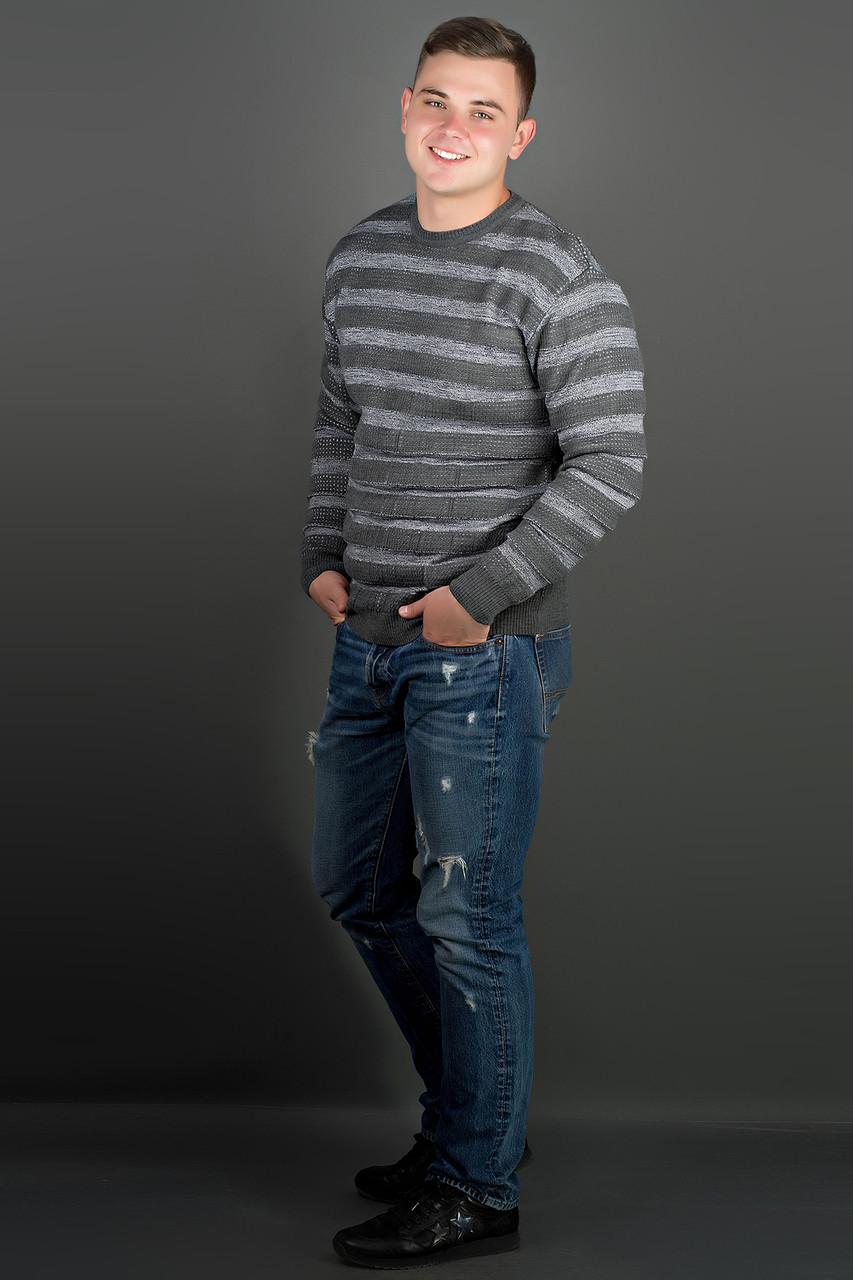 Чоловічий светр великих розмірів Павук, колір сірий / розмірний ряд 48,50,52