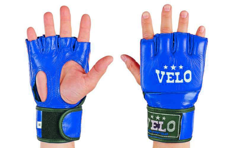 Перчатки для миксфайта Velo кожа синие
