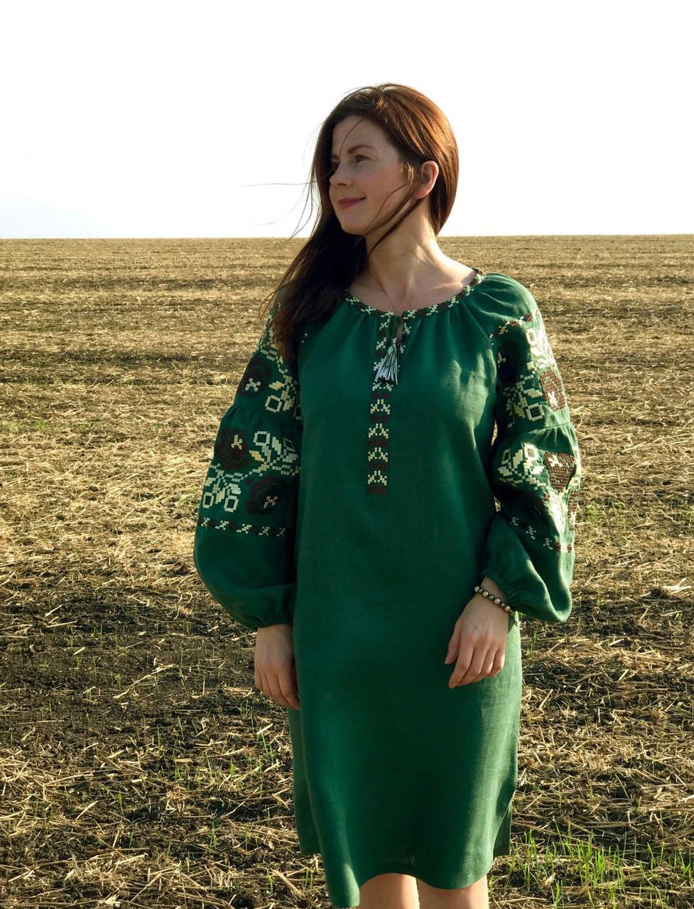 df3419d67198f6 Вишите лляне зелене плаття з машинною вишивкою: продажа, цена в ...
