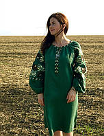 Вишите лляне зелене плаття з машинною вишивкою b76635897f13f
