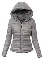 Женская стёганая зимняя куртка двухсторонняя с капюшоном на меху