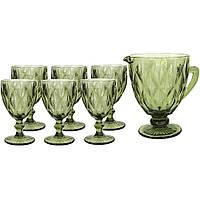 Набор бокалов с кувшином винтажный зеленый (праздничные фужеры)