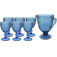 Набор бокалов с графином винтажный синий (праздничные фужеры)