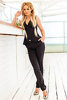 Женский костюм с блузой на запах (черный) Love KAN