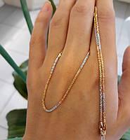 Золотая цепочка Акс из красного, желтого и белого золота 50см, фото 6