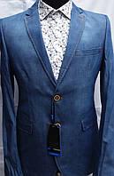 Джинсовый мужской пиджак с красными латками Palmiro Rossi