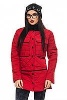 Красная женская удлиненная стеганая стильная демисезонная куртка с разрезами .  Арт-2353/61