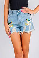 Шорты джинсовые с вышивкой птичек AG-0004074 Голубой