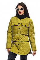 Оливковая женская удлиненная стеганая стильная демисезонная куртка с разрезами .  Арт-2353/61
