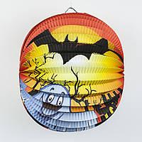 "Бумажный фонарик-аккордеон на Хэллоуин ""Кажан і привід"", 24 см"
