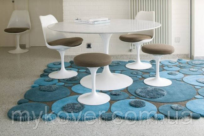 Объемные 3D ковры, купить бирюзово голубой ковер кругами