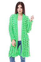 Вязаный кардиган ADEL зеленый неон ТМ FashionUp 42-50 размеры