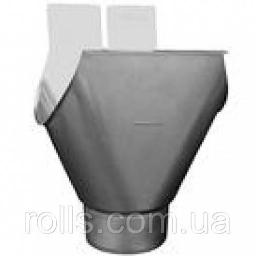 Лейка воронка подвесная для полукруглого желоба, 400(192)мм, 100мм, Rheinzink blaugrau, титан-цинк патинирован
