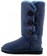 "Зимние женские сапоги угги UGG Tall Bailey Button Triplet ""Navy Blue"" (угги угг австралия) синие"