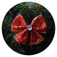 Бантик на елку (красная ткань с золотым узором)