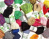 Декоративный шнурок, цветная нитка, верёвка для упаковки, хлопковый шпагат - черное золото, фото 2