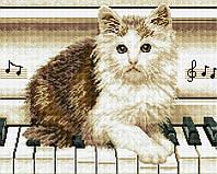 """Набір для алмазної мозаїки """"Котик на роялі"""" 40х50см GF1195"""
