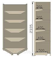 Угловой внутренний стеллаж. Стеллаж угловой пристенный 705х705х2350 (приставная секция)