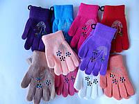 """Перчатки для девочек """"Корона"""" разные цвета 12 пар в упаковке"""