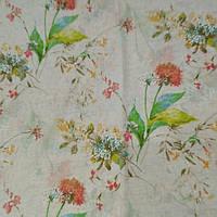 Тюль лен Цветочный сад
