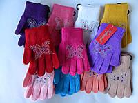 """Перчатки для девочек от 3-5 лет  """"Корона"""" разные цвета 12 пар в упаковке"""