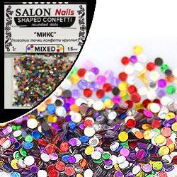 Salon Nails Блестки пакет фигурные Shaped Confetti Mix круглые конфети микс 1,5мм 1г