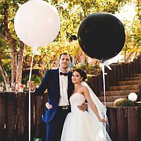 Белый и черный шары гиганты для свадебной фотосессии