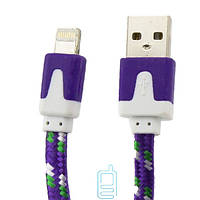 USB кабель Lightning iPhone 5S плоский тканевый фиолетовый