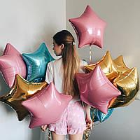 10 фольгированных звёзд розового, золотого и голубого цвета
