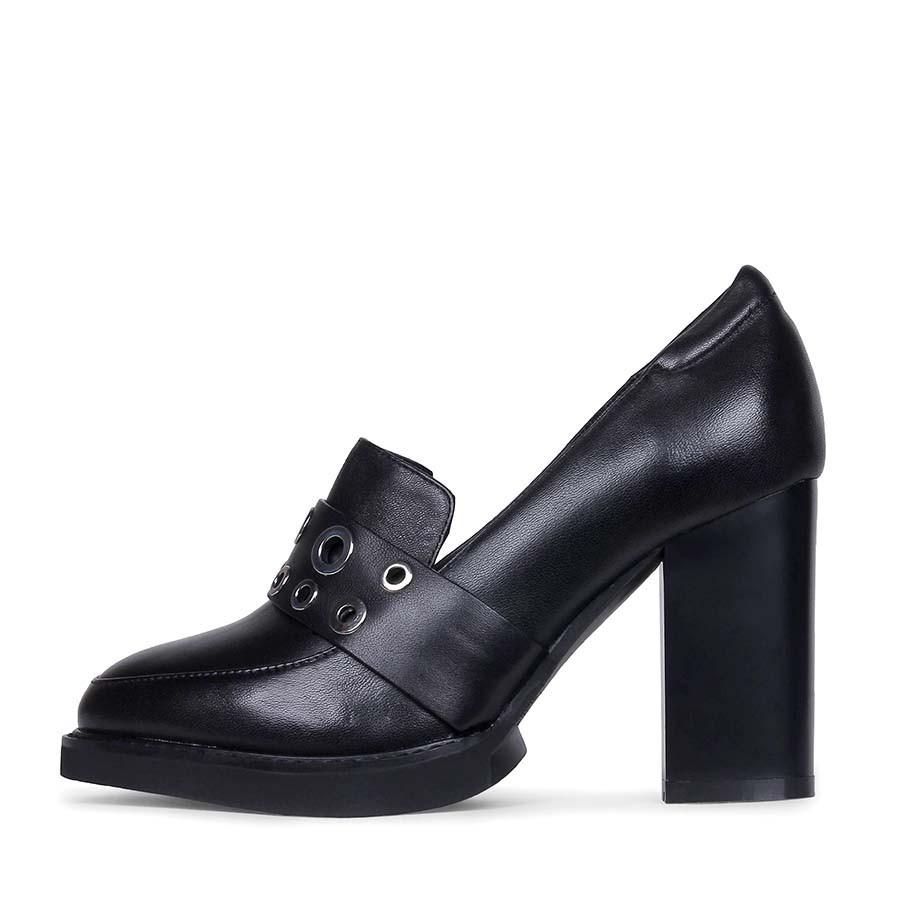Стильные женские туфли из натуральной кожи черного цвета на каблуке A-Vani