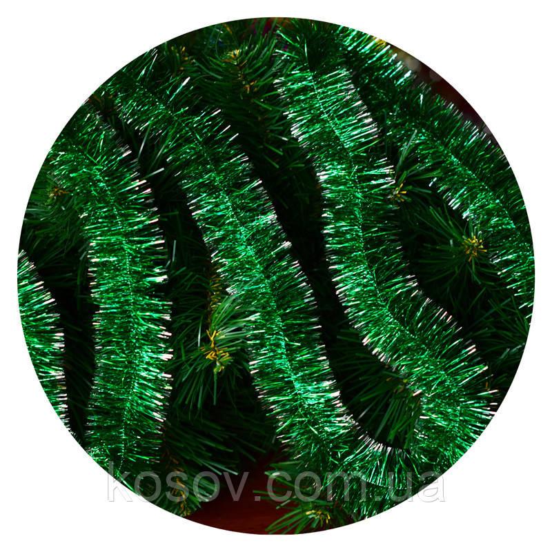 Дождик (мишура) 5 см (3м) (зеленый/ серебряные концы)