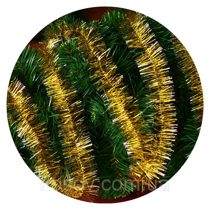 Дождик (мишура) 5 см (3м) (золотой / серебряные концы)