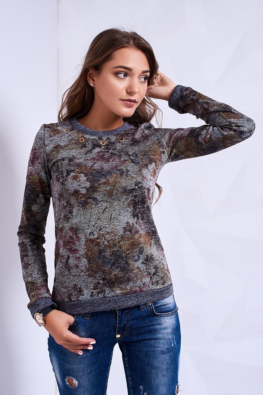 217f65880a2a3 Повседневный свитшот с цветочным принтом под джинсы - Оптово-розничный  магазин одежды