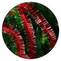 Дождик (мишура) 5 см (3м) (красный / серебряные концы)